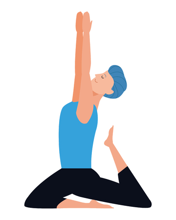 man yoga pose avatar cartoon character vector illustration graphic design