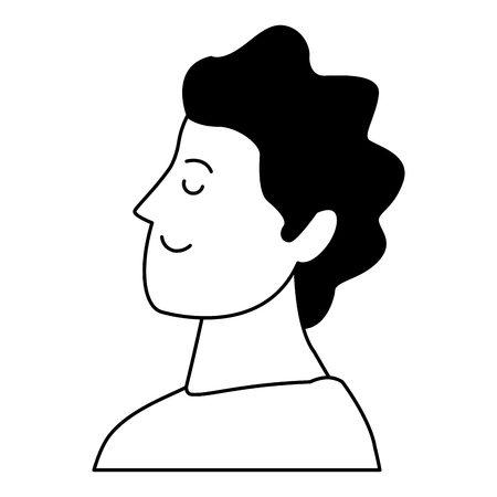 man portrait avatar cartoon character black and white isolated vector illustration graphic design