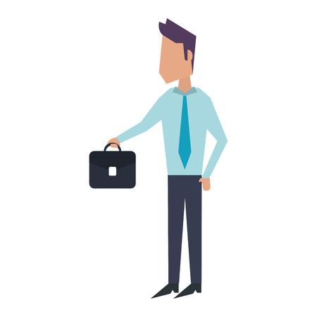 Executive businessman with briefcase avatar vector illustration graphic design Ilustração