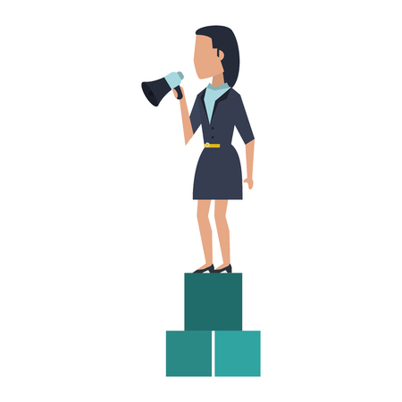 Executive businesswoman with bullhorn on cubes avatar vector illustration graphic design