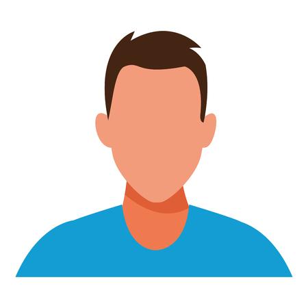 Hombre retrato avatar sin rostro personaje de dibujos animados ilustración vectorial diseño gráfico