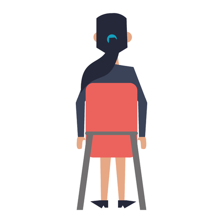 Businesswoman seated on chair backward vector illustration graphic design