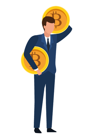 businessman with cryptocurrency icon cartoon vector illustration graphic design