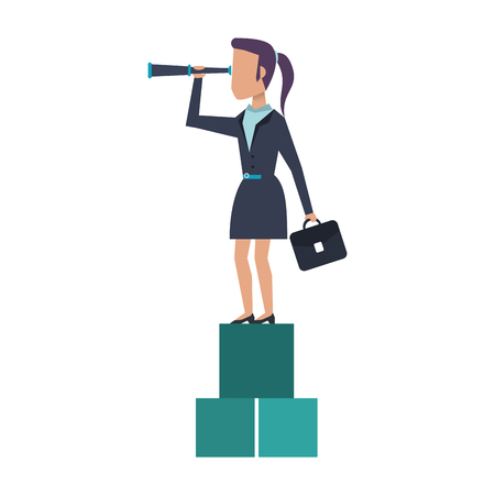 Executive businesswoman with briefcase and telescope on cubes avatar vector illustration graphic design