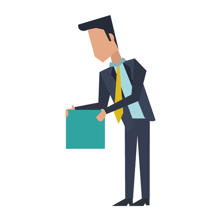 Executive businessman with cube avatar vector illustration graphic design Ilustração