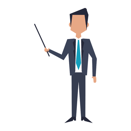 Executive businessman with stick avatar vector illustration graphic design Illustration