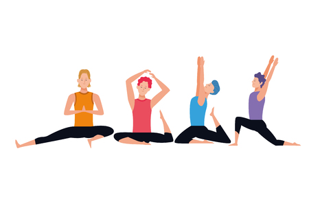 men yoga poses avatar cartoon character vector illustration graphic design 向量圖像