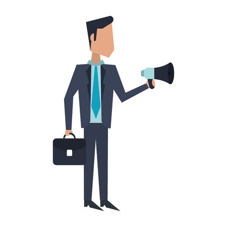 Executive businessman with bullhorn and briefcase avatar vector illustration graphic design Imagens - 122824077