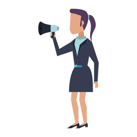 Executive businesswoman with bullhorn avatar vector illustration graphic design Çizim