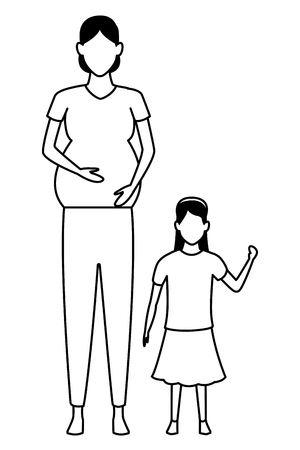 woman pregnant with child avatar cartoon character black and white vector illustration graphic design Иллюстрация