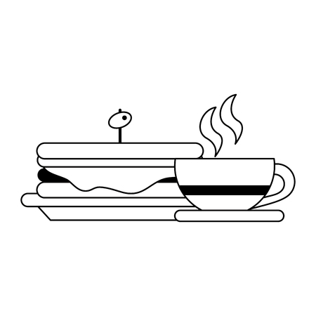 Healthy food cartoons sandwich and coffee cup vector illustration graphic design