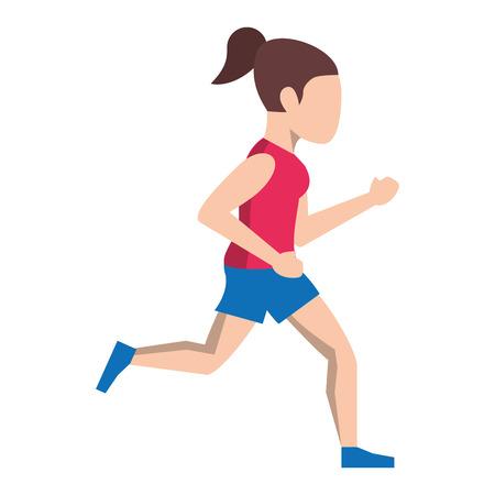 Mujer de fitness corriendo diseño gráfico del ejemplo del vector del avatar de la vista lateral Ilustración de vector