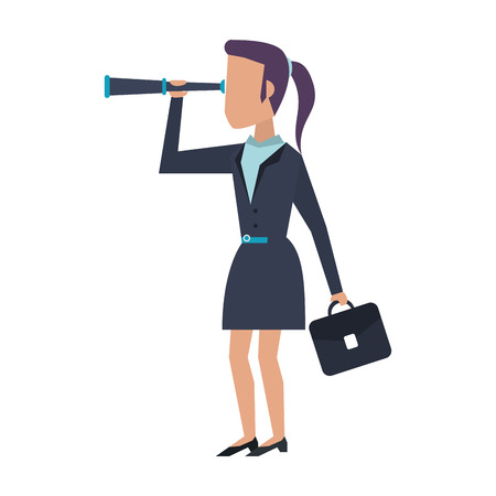 Executive businesswoman with telescope and briefcase avatar vector illustration graphic design