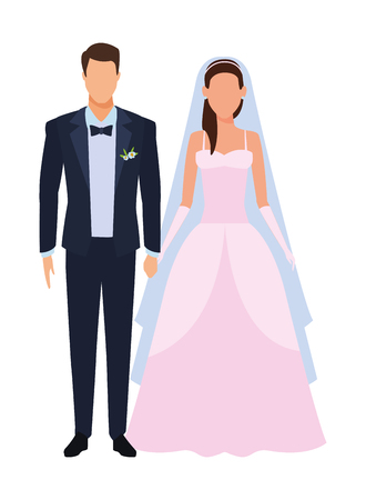 groom and bride avatar cartoon character vector illustration graphic design