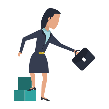 Executive businesswoman with cubes and briefcase avatar vector illustration graphic design
