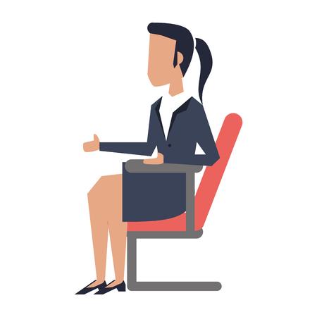 Businesswoman seated on chair avatar vector illustration graphic design Ilustrace