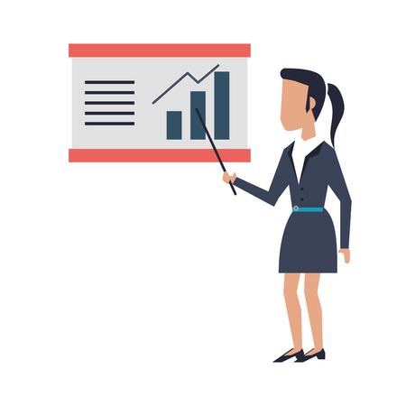 Businesswoman with profit statistics on whiteboard vector illustration graphic design Çizim