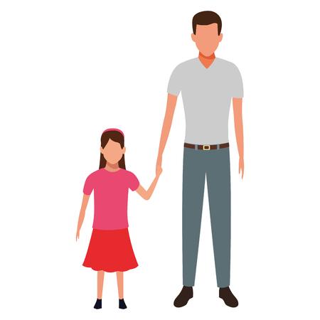 man and child avatar cartoon character vector illustration graphic design