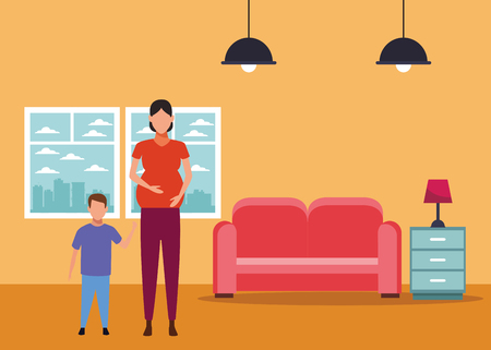 woman pregnant with child avatar cartoon character at home vector illustration graphic design