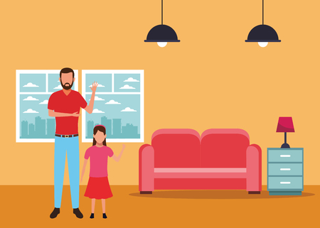 man and child avatar cartoon character at home vector illustration graphic design