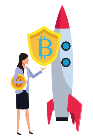 businesswoman with cryptocurrency skyrocket icon cartoon vector illustration graphic design Illustration