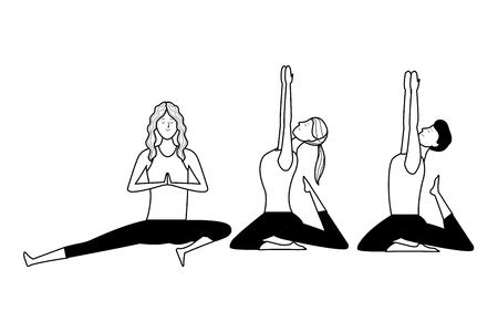 people yoga poses avatars cartoon character ponytail black and white isolated vector illustration graphic design Stock Vector - 122787417