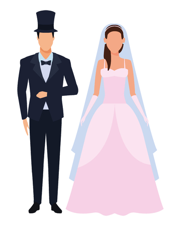 groom and bride avatar cartoon character vector illustration graphic design Stockfoto - 122787456