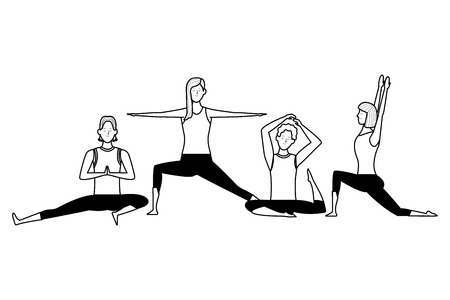 people yoga poses avatars cartoon character short hair black and white isolated vector illustration graphic design