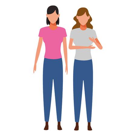 women avatar cartoon character vector illustration graphic design vector illustration graphic design Vectores