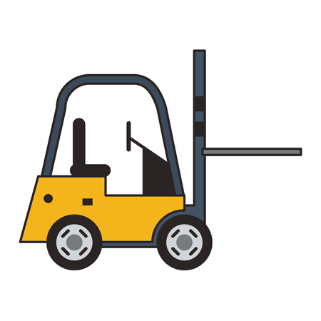 Forklift cargo vehicle sideview vector illustration graphic design Stock Vector - 122787501