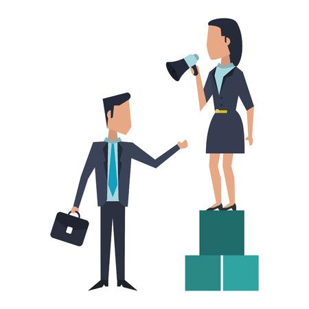 Business teamwork moving cubes avatar vector illustration graphic design