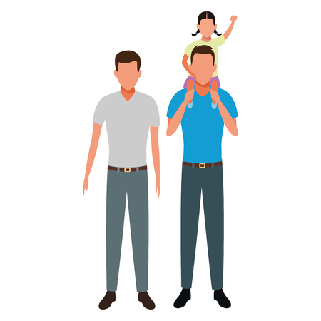 men with child avatar cartoon character vector illustration graphic design