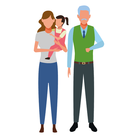 family avatar cartoon character grandparent mother and child vector illustration graphic design vector illustration graphic design