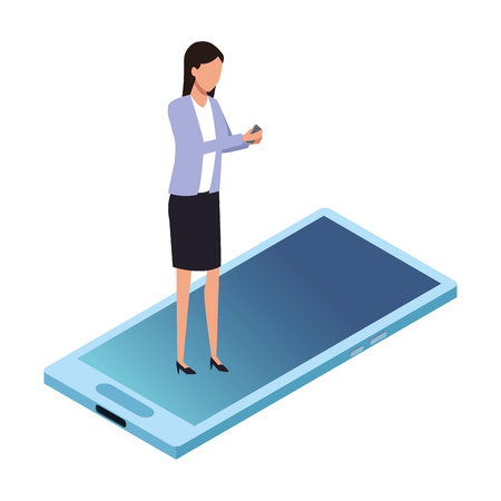 businesswoman and cellphone icon cartoon vector illustration graphic design