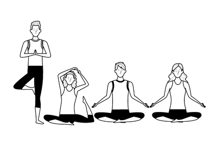 people yoga poses avatars cartoon character headband black and white isolated vector illustration graphic design Stock Vector - 122787673