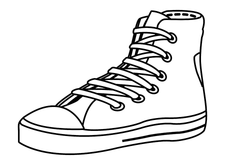 sneaker icon isolated black and white vector illustration graphic design