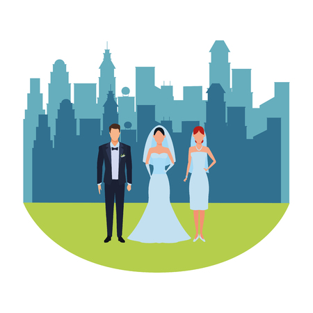 people dressed for wedding avatar cartoon character cityscape skyscraper vector illustration graphic design