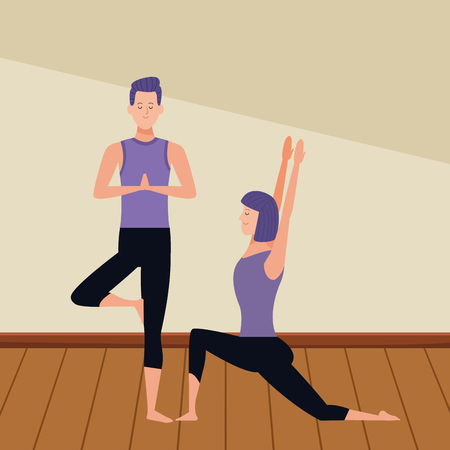 couple yoga poses avatars cartoon character with short hair indoor wooden floor vector illustration graphic design