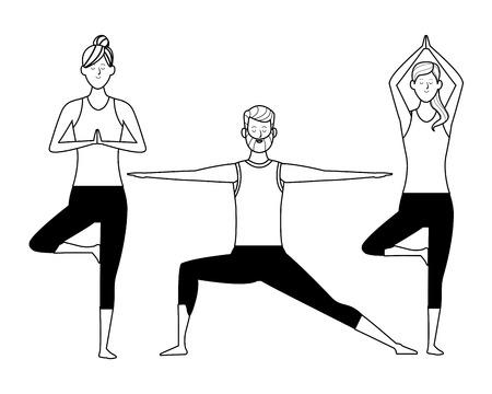 people yoga poses avatars cartoon character bun beard black and white isolated vector illustration graphic design Stock Vector - 122787731