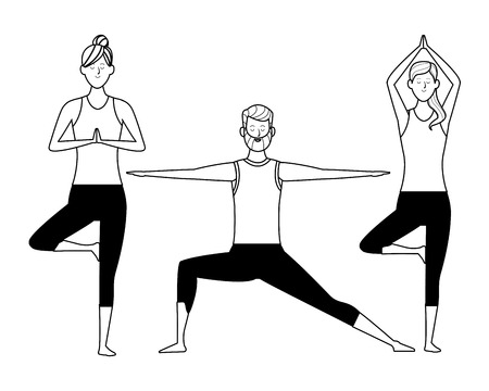 people yoga poses avatars cartoon character bun beard black and white isolated vector illustration graphic design