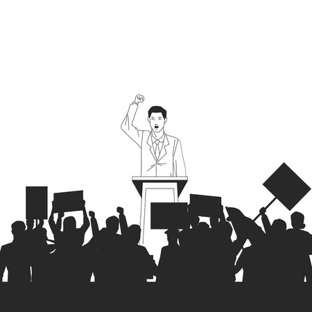man making a speech and audience silhouette avatar cartoon character vector illustration graphic design