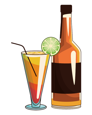 beverage bottle and cocktail icon cartoon vector illustration graphic design Ilustrace