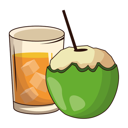 glass with drink and coconut icon cartoon vector illustration graphic design  イラスト・ベクター素材