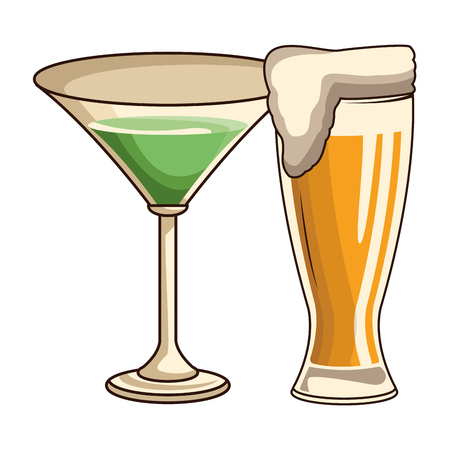 glasses with drink and beer icon cartoon vector illustration graphic design 일러스트