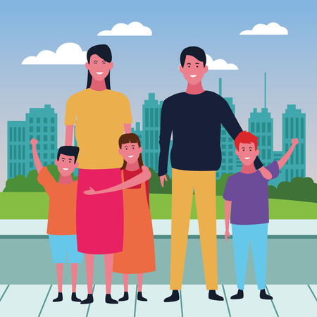 Family mothers with sons and daughters over cityscape scenery