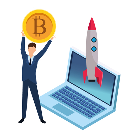 businessman holding cryptocurrency bitcoin with laptop and skyrocket vector illustration graphic design Ilustrace