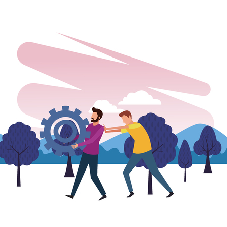 Coworkers men with big gear and partnet pushing teamwork cartoon in the park outdoors scenery vector illustration graphic design