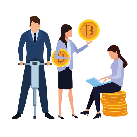 business people holding cryptocurrency bitcoin drill and laptop vector illustration graphic design