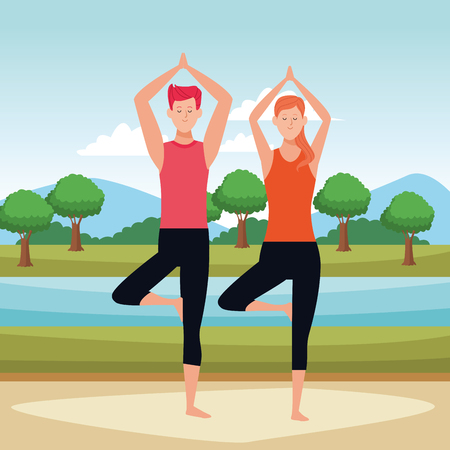 couple yoga poses avatars cartoon character in the park vector illustration graphic design Ilustração