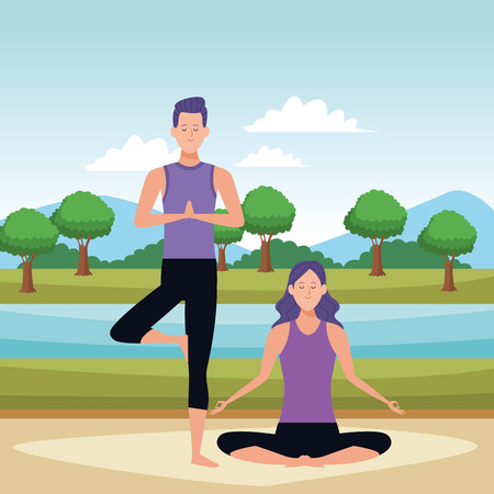 couple yoga poses avatars cartoon character in the park vector illustration graphic design 向量圖像